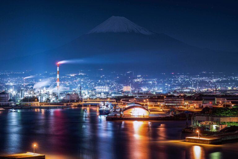 田子の浦港から見る夜景と富士山(静岡県)