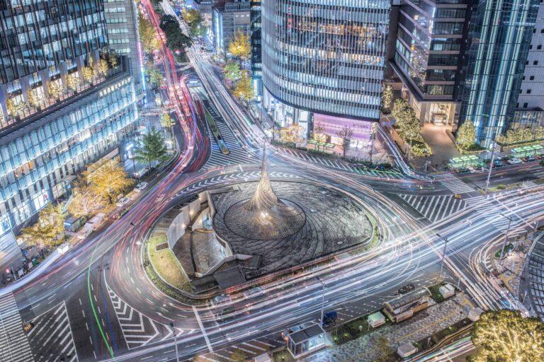 名古屋駅前の夜景(愛知県)