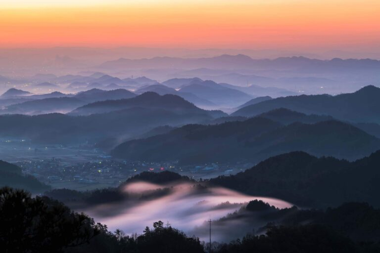 古城山から見る朝焼け